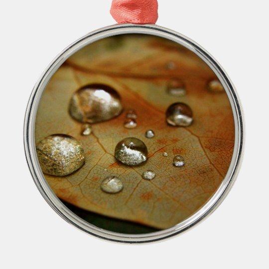 Raindrops on Leaf Metal Ornament