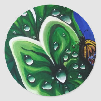 Raindrops on Leaves Classic Round Sticker