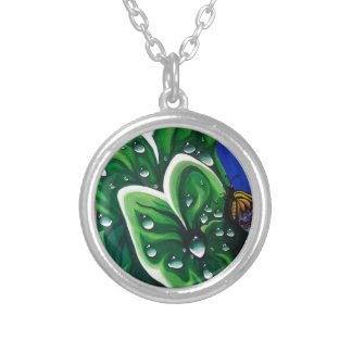 Raindrops on Leaves Round Pendant Necklace