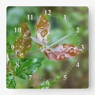 raindrops on leaves square wall clock