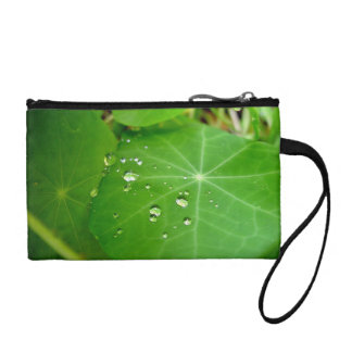 Raindrops on nasturtium leaf coin wallet