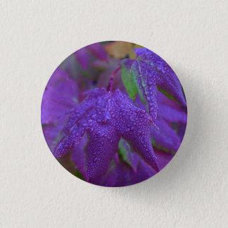 Raindrops on Purple Leaves Pinback Button