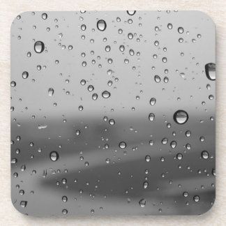 Raindrops On Silver Background Beverage Coasters