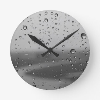 Raindrops On Silver Background Round Clock