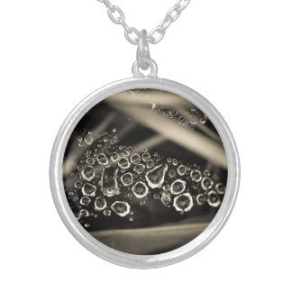 raindrops on web silver plated necklace