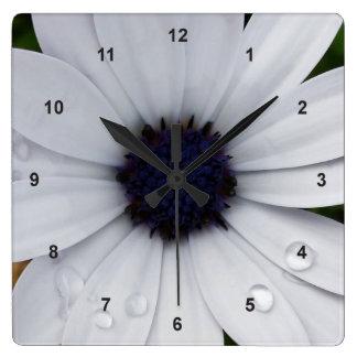 raindrops on white square wall clock