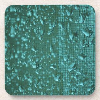 Raindrops on Window enhanced to Green Beverage Coasters