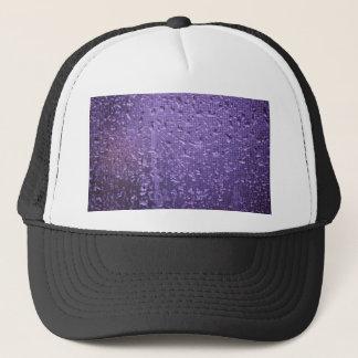Raindrops on Window in Purple Trucker Hat