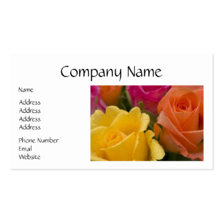Raindrops on Yellow Orange and Pink Roses Double-Sided Standard Business Cards (Pack Of 100)
