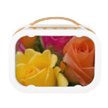 Raindrops on Yellow Orange and Pink Roses Lunchboxes