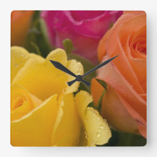 Raindrops on Yellow Orange and Pink Roses Square Wall Clock