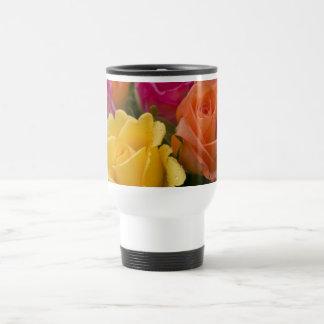 Raindrops on Yellow Orange and Pink Roses Travel Mug
