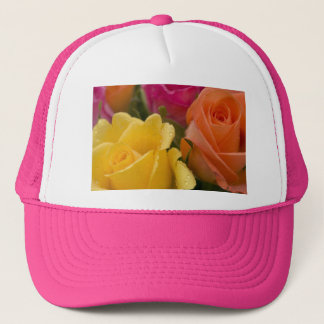 Raindrops on Yellow Orange and Pink Roses Trucker Hat