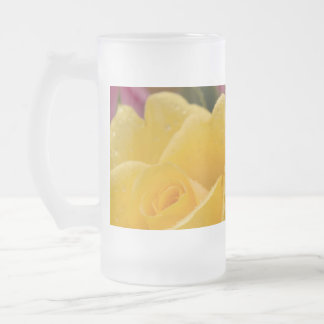 Raindrops on Yellow Orange & Pink Roses Glass Frosted Glass Beer Mug