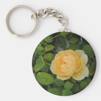 Raindrops on Yellow Rose Keychain