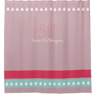 raindrops u0026amp stripes with monogram pink shower curtain