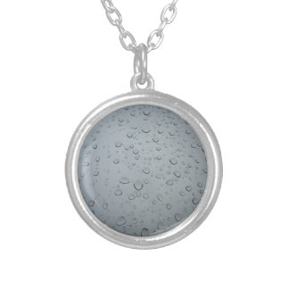 Raindrops, Water Drops, Rainy Window, Raining Silver Plated Necklace
