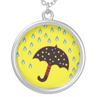 raindrops with umbrella silver plated necklace