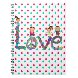 Raindrow Notebook with Tie Dye Love and Stick Kids