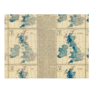 Rainfall, temperature, British Isles Postcard