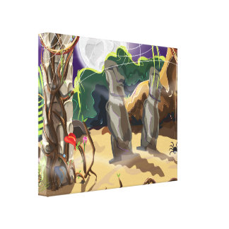 Rainforest Hidden Temple illustration. Canvas Print