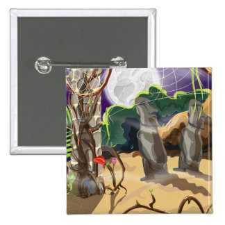 Rainforest Hidden Temple illustration. Pinback Button