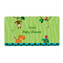 Rainforest Jungle Animal Water Bottle Labels