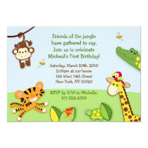 Rainforest Jungle Animal Zoo Birthday Invitations