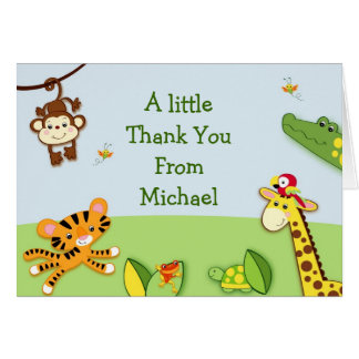 Rainforest Jungle Animals Thank You Note Cards
