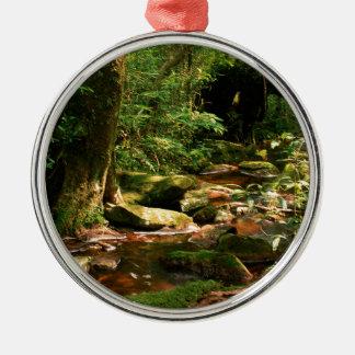 Rainforest Jungle Stream Landscape Metal Ornament