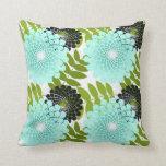 Rainforest Pattern IV throw pillow aqua flowers Pillows