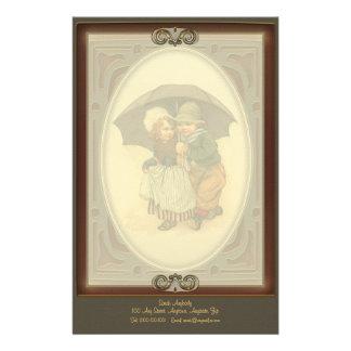 Raining Again Vintage Illustration Letterhead
