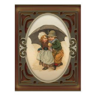 Raining Again Vintage Illustration Postcard