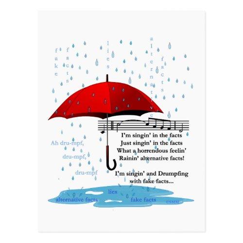 Raining and Singing Alternative Facts Postcard