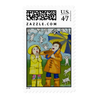 Raining Cats & Dogs Postage Stamps