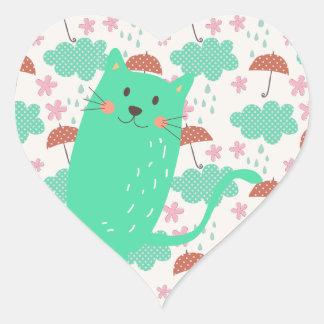 Raining Cats Heart Sticker