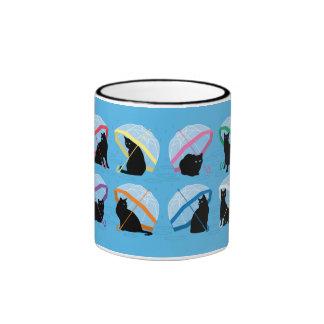 Raining Cats 'n Cats Black 11oz Ringer Mug