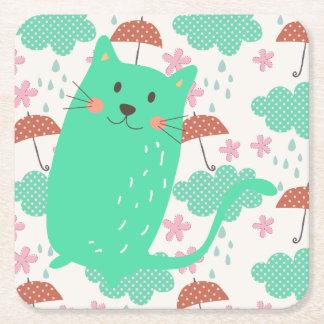 Raining Cats Square Paper Coaster