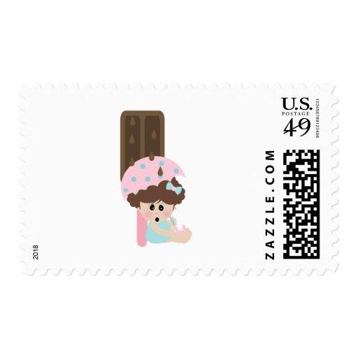raining chocolate ice cream sweet tooth girl stamp