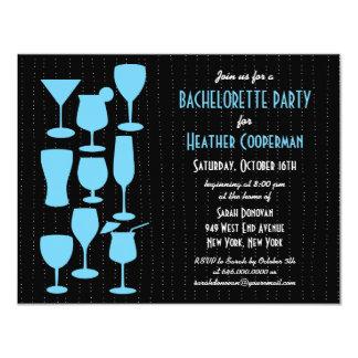 "Raining Cocktails Bachelorette Party Invitation 4.25"" X 5.5"" Invitation Card"