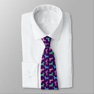 Raining Dachshunds Cute Purple Doxie Necktie