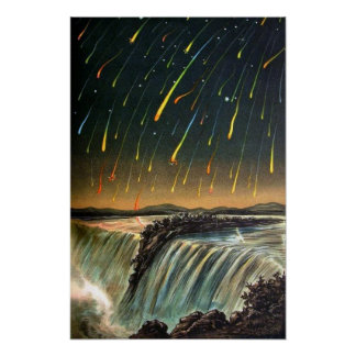 Raining Fire over Water Falls Poster