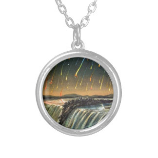 Raining Fire over Water Falls Round Pendant Necklace