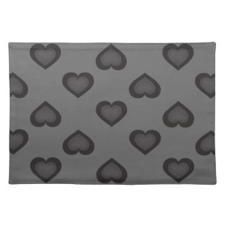 Raining Hearts: Black on Gray Placemat