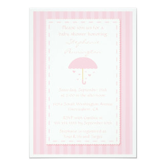 Raining hearts umbrella baby shower invitation