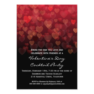 Raining Hearts Valentines Day Party 5x7 Paper Invitation Card