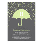 Raining Love Bridal Shower Invitation (Green) Personalized Announcement