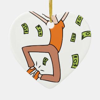 Raining Money Rich Cartoon Man Ceramic Ornament