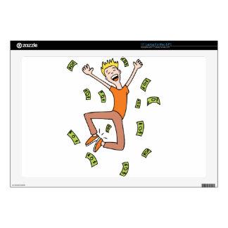 Raining Money Rich Cartoon Man Laptop Decal