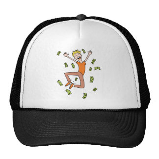 Raining Money Rich Cartoon Man Trucker Hat